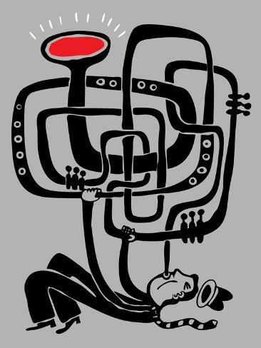 Trumpeter Play a Long Weird Trumpet with Passion Premium Giclee Print