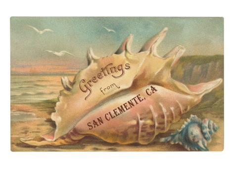 Conch Shell Greetings from San Clemente Art Print