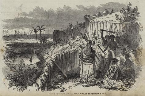 Conflict Between the English in New Zealand and the Aborigines Giclee Print