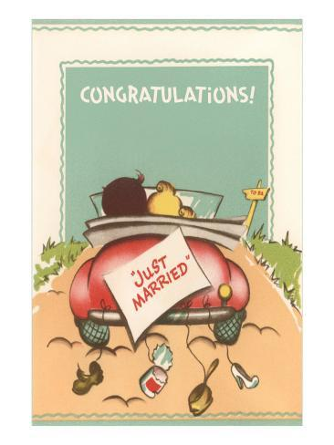 Congratulations, Just Married, Back of Car Art Print