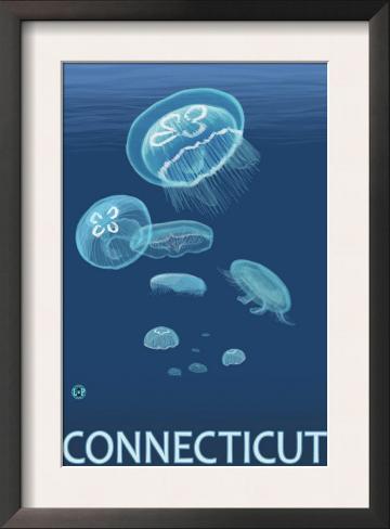Connecticut - Jellyfish Scene Framed Art Print