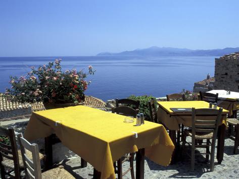 Outdoor Restaurant, Monemvasia, Greece Photographic Print
