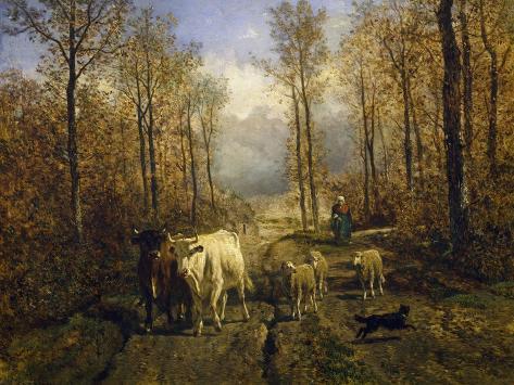Returning from Pasture, 1860 Lámina giclée