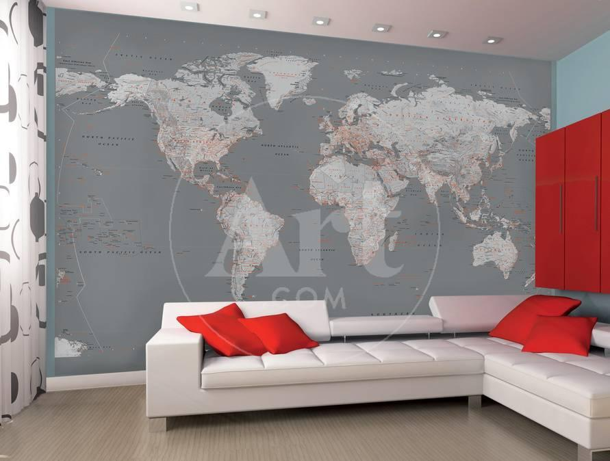 Contemporary Grey World Map Wallpaper Mural Wallpaper Mural At - Grey world map poster