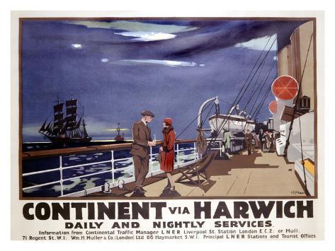 Continent via Harwich Giclee Print
