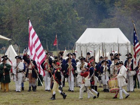 Continental Army Muster Reenactment at Yorktown Battlefield, Virginia Stampa fotografica