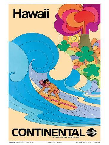 Continental Hawaii Surfer c.1960's Art Print