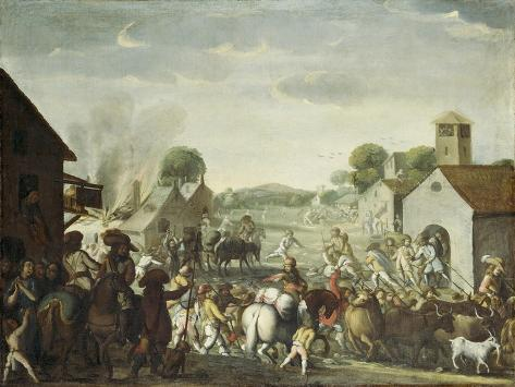 Troops Plundering a Village During the Thirty Year' War, 1660 Giclee Print