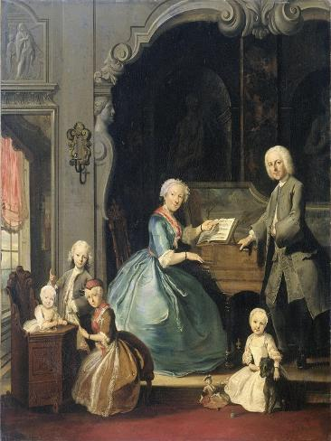 Family Group Near a Harpsichord, Cornelis Troost Art Print