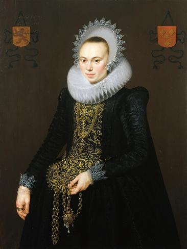 Portrait of Justina Van Teylingen, 1616 Lámina giclée