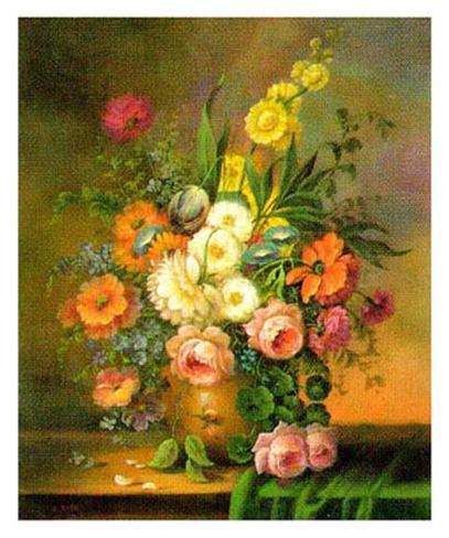 Altmeisterliche Blumen Stampa artistica
