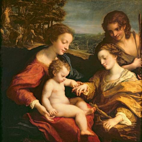 The Mystic Marriage of St. Catherine of Alexandria, c.1526-27 Lámina giclée