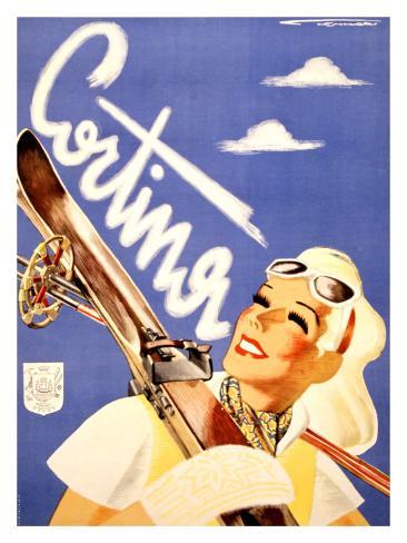 Cortina Skier Giclee Print