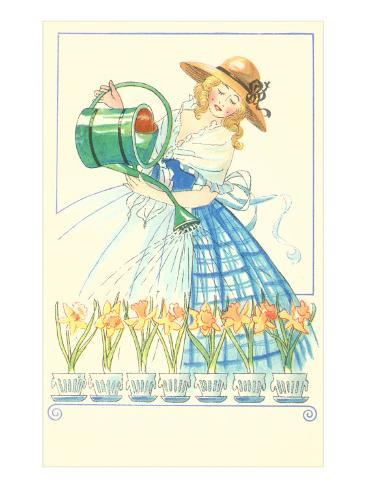 Costumed Lady Watering Daffodils Art Print