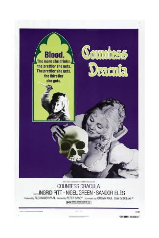 Countess Dracula, US poster, Ingrid Pitt, 1971 Stampa artistica