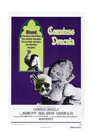 Countess Dracula, US poster, Ingrid Pitt, 1971 Art Print