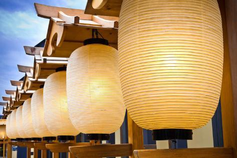 A Row of Japanese Paper Lanterns Photographic Print