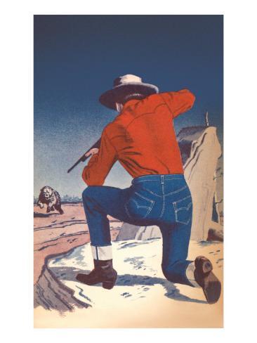 Cowboy Shooting Charging Bear Stampa artistica