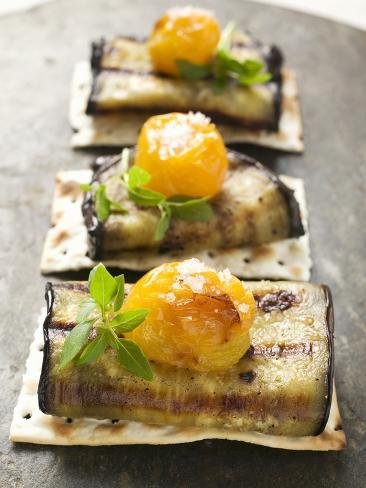 Crackers with Grilled Aubergines and Cherry Tomatoes Photographic Print