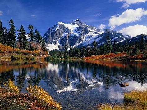 Autumn Foliage Surrounding Picture Lake Photographic Print