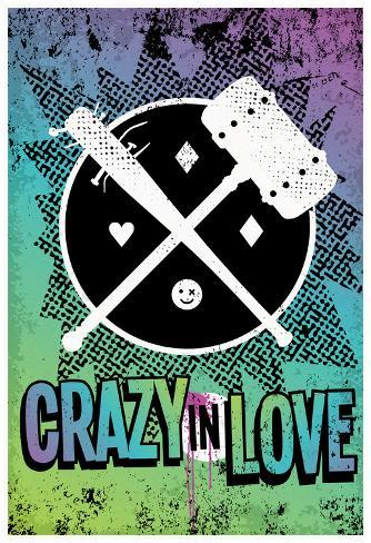 Crazy In Love Distressed Color Splatter ポスター