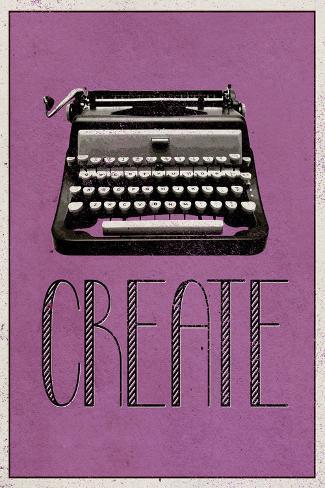 Crear, en inglés, máquina de escribir retro, arte póster lámina Póster