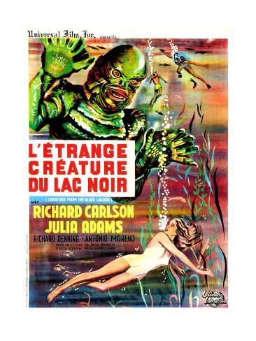 Creature from the Black Lagoon, (aka L'Etrange Creature Du Lac Noir), French Poster Art, 1954 Gicléetryck