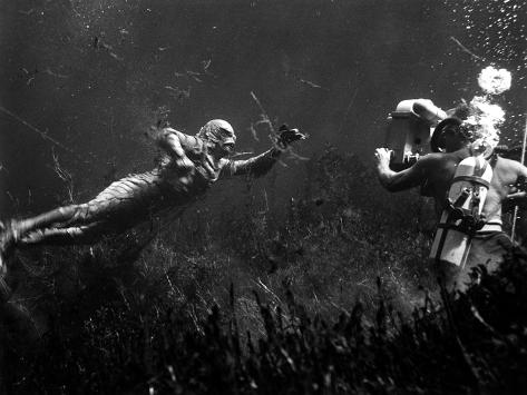 Creature from the Black Lagoon, Shooting Underwater Scene, 1954 Foto