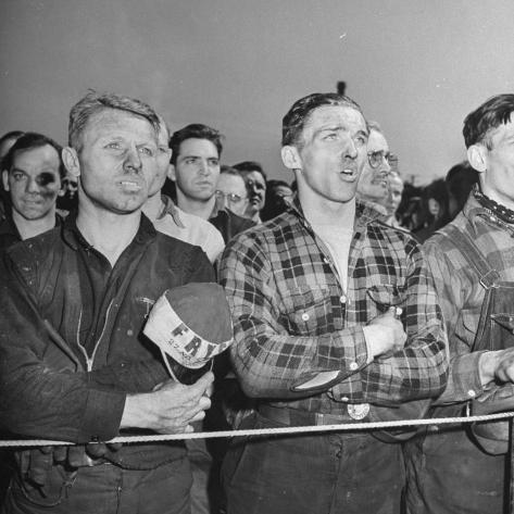 Crowd of Steel Workers Singing