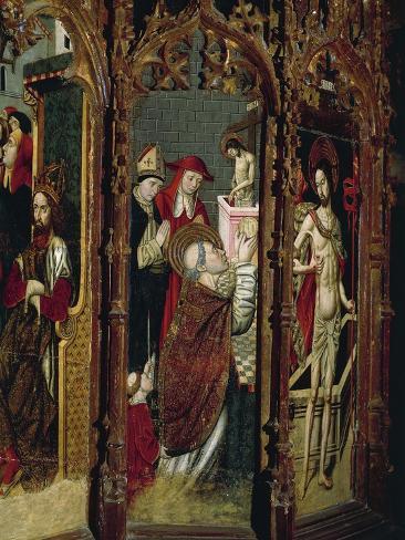 Crucifixion, Madonna Enthroned and Saints, Detail from Right Chapel Altarpiece Lámina giclée