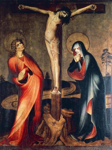 Crucifixion of Christ with Mary and St. John, Circa 1400 Lámina giclée