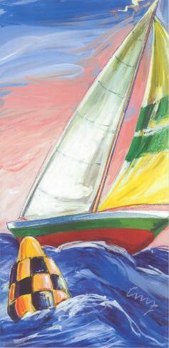Red Sail Boat Art Print