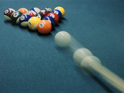 Cue Ball Rolling Towards Racked Billiard Balls Photographic Print - Rolling pool table