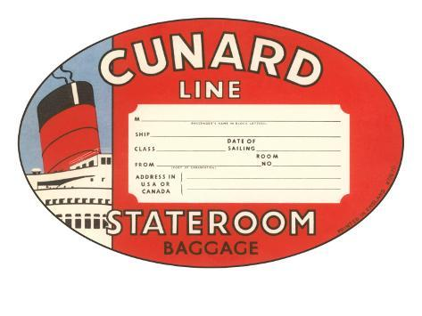 Cunard Line Baggage Tag Art Print