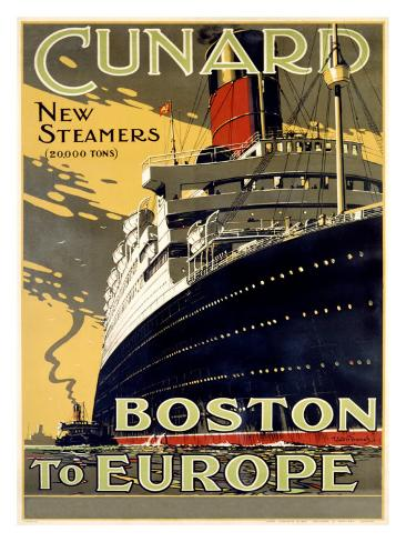 Cunard Line, Boston to Europe Giclee Print