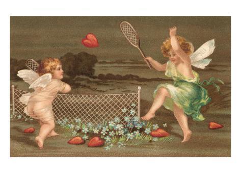 Cupids Playing Tennis Lámina
