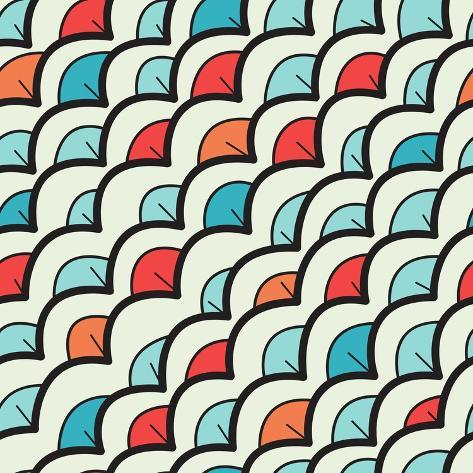 Abstract Background with Colorful Scales Art Print