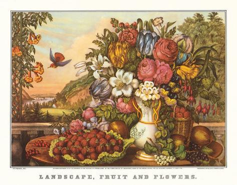 Landscape, Fruit and Flowers Art Print