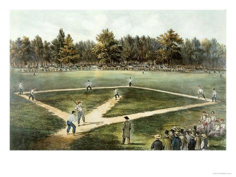 The American National Game of Baseball - Grand Match at Elysian Fields, Hoboken, Nj, 1866 Giclee Print