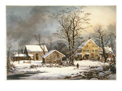 Winter in the Country a Cold Morning Giclee Print