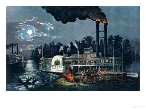 Wooding Up' on the Mississippi Giclee Print