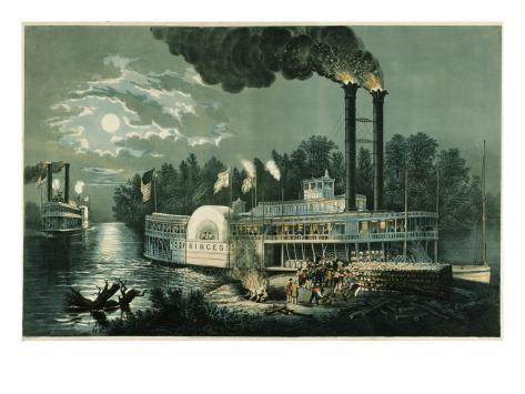 Wooding-up on the Mississippi Giclee Print