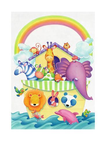 Cute Animals on Ark Art Print