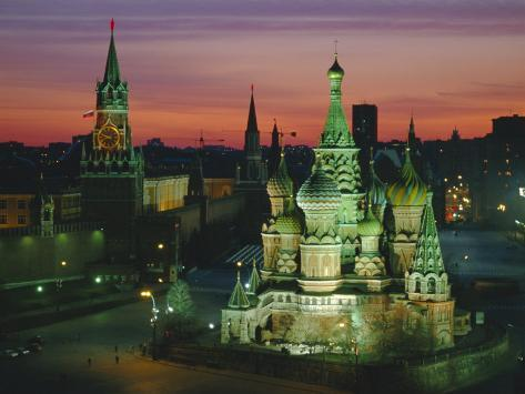 Sunset Over Red Square, the Kremlin, Moscow, Russia Photographic Print