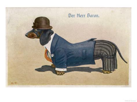 Dachshund Dressed as a Man Giclee Print