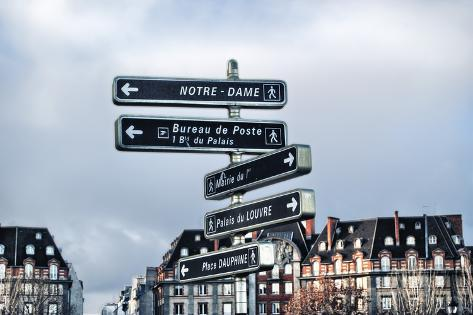 Information Signage in Paris. Photographic Print