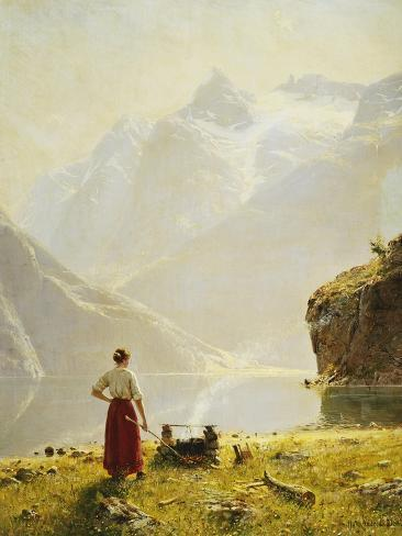 A Summer Day on a Norwegian Fjord Giclee Print