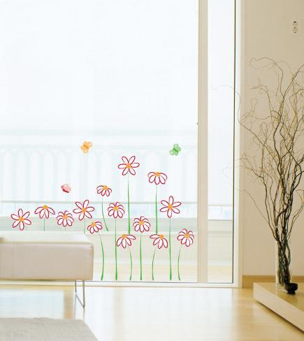 Daises and Butterflies (Window Decal) Wall Decal