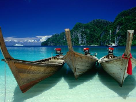 Longtail Boats at Ao Lo Dalam, Ko Phi-Phi Don, Krabi, Thailand Photographic Print