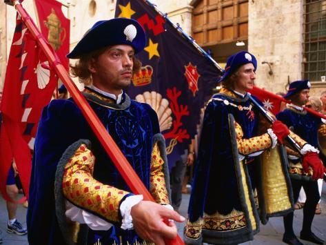 Men in Costume, Il Palio Parade, Siena, Italy Photographic Print